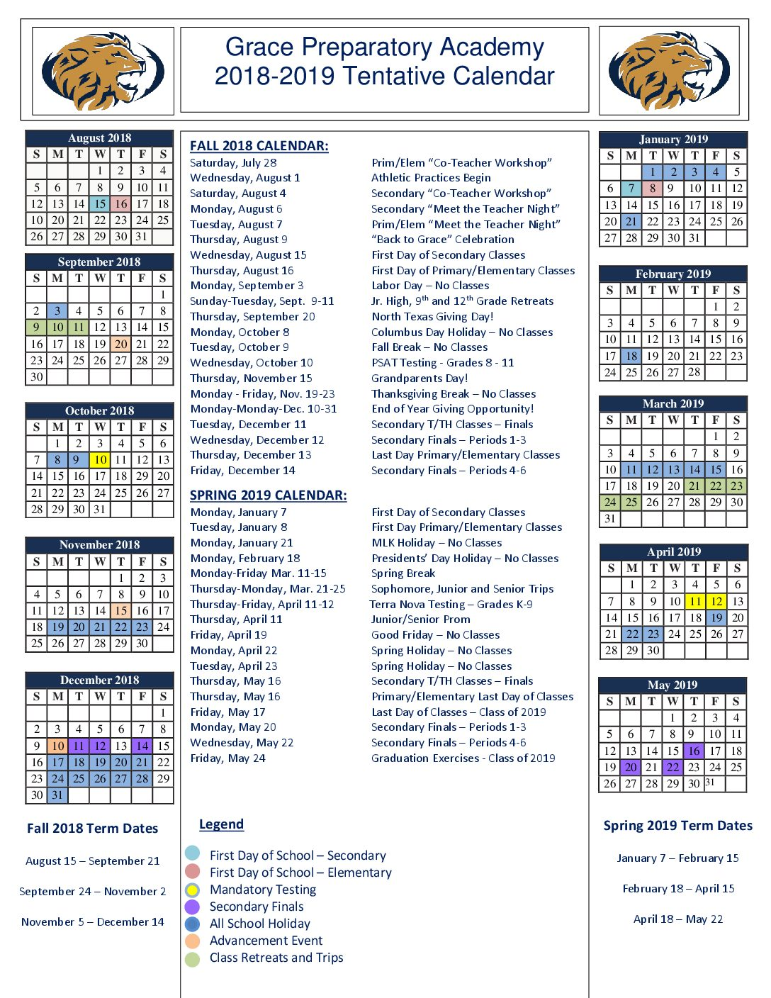 201819 school calendar grace prep private christian school arlington texas